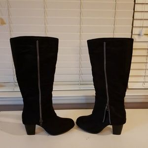 Black knee high wide calf boots 10